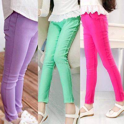 Kids Girl Stretch Skinny Candy Color Pants Casual Trousers Leggings Tight Pencil