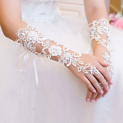 White Bridal Prom Lace Floral Rhinestones Fingerless Gloves Wedding Party