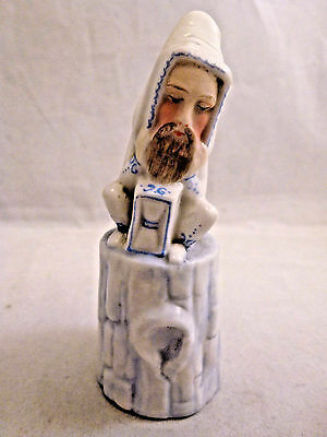 Antique  Porcelain  Candle Snuffer hand painted c. 1800's Figural BEARDED MAN