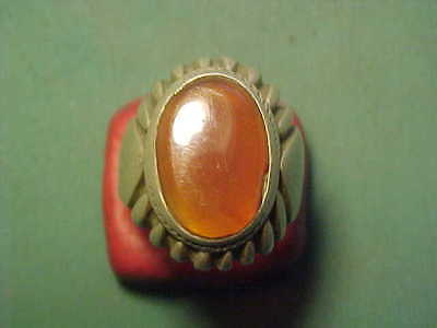 Near Eastern hand crafted solid silver ring with carnelian stone circa 1700-1900