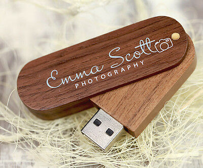 Custom Swivel Walnut Wood USB 3.0 Flash Drive Photography Pendrive 16GB 32GB 8GB