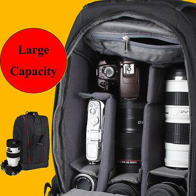 Portable Large DSLR Digital Camera Backpack Bag Rucksack for Canon Nikon Sony