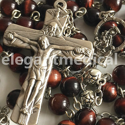 Silver Rose Bead & RED Tiger Eye ROSARY CROSS CATHOLIC NECKLACE CRUCIFIX GIFTS