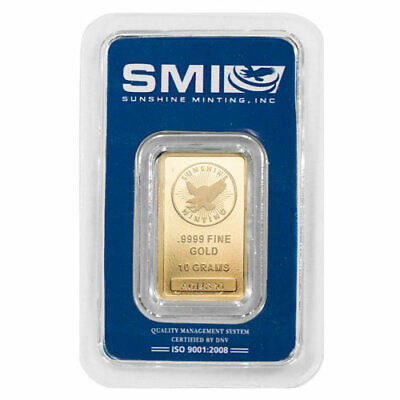 10 Gram Sunshine Gold Bar (New w/ Assay, MintMark SI)