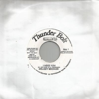 "Melody Beecher - I Need You (Thunder Bolt) Reggae 7"" Vg+"