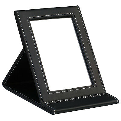 Black Faux Leather Folding Mirror - By TRIXES