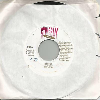 "Simpleton - Stop It (Stingray) Reggae 7"" Vg+"