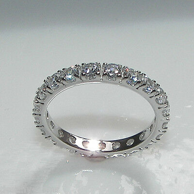 New 925 Sterling Silver Full Eternity Created Diamond Ring Gift Boxed UK made