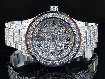 Mens Jewelry Unlimited White Gold Steel Simulated Lab Diamond Watch 45MM DJ-02