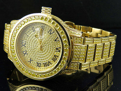 Mens Jewelry Unlimited Canary Yellow Gold Simulated Lab Diamond Watch 45MM DJ-03