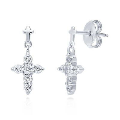 BERRICLE Sterling Silver Cubic Zirconia CZ Cross Fashion Dangle Drop Earrings