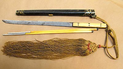 19th C Japanese Trousse Knife And Bone Chopstick Set In Shagreen Scabbard