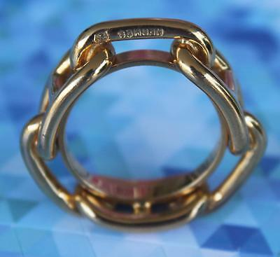 RARE Authentic GOLD Palladium HERMES Chaine d Ancre Scarf Ring NEW in Dust Bag