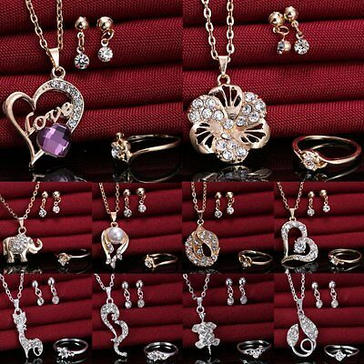 Wedding Bridal Prom Crystal Love Heart Necklace Earrings Ring Party Jewelry Set