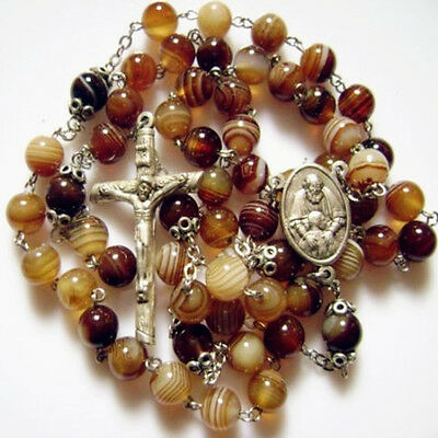 Rare 8mm Natural Agate ROSE BEADS 5DECADE ROSARY & CROSS Catholic necklace GIFTS