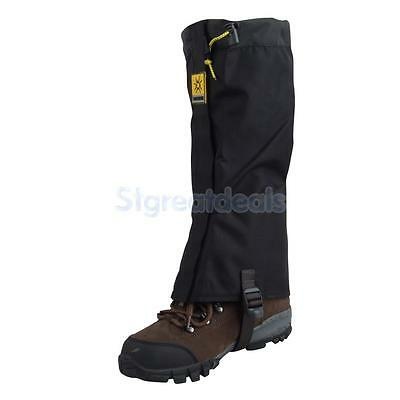 Pair Waterproof Climbing Snow Legging Boot Gaiters Trouser Protector Cover Black