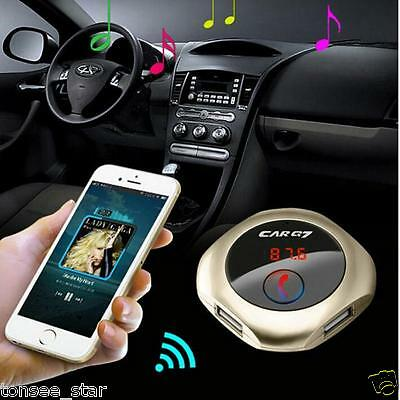 Q7 Wireless Bluetooth Car Golden USB Music FM Transmitter MP3 Player Aux Kit NEW