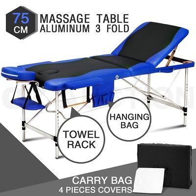 3 Fold Portable Aluminum Massage Bed Beauty Therapy Treatmet Table Black & Blue