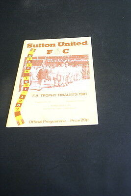 Sutton United v Worcester city 27th of February 1982