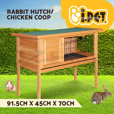Rabbit Hutch Chicken Coop Guinea Pig Ferret Wooden W/Tray Cage Hen House Storey