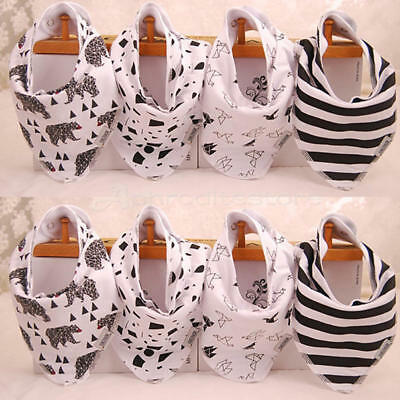 4 Pcs/Set Infants Toddler Baby Bandana Drool Bibs For Boys Girls Scarf Snaps QY