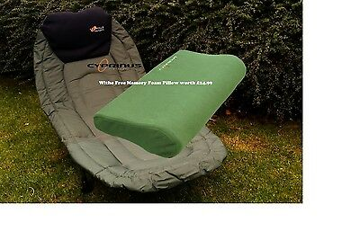 Cyprinus LayZee Carp Fishing Bed Bedchair & FREE Memory Foam Pillow worth £24.99