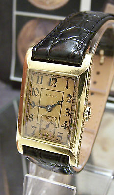 Vintage Antique C1945 Zenith Solid 18K Gold  Art Deco Watch Serviced Looks Sweet
