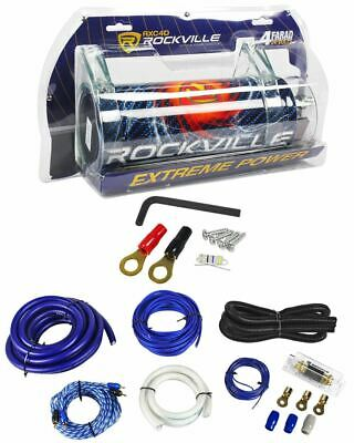 Rockville RXC4D 4 Farad/12 Volt Digital Power Capacitor+RWK01 0 AWG Amp Wire Kit
