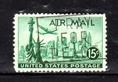 #C35  15 CENT  STATUE OF LIBERTY  AIR MAIL  FANCY CANCEL   USED  a
