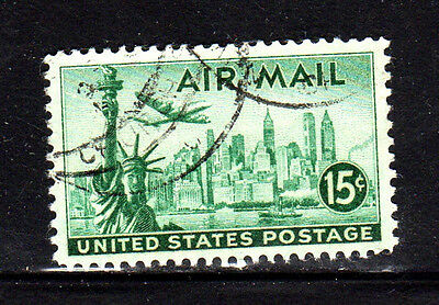 #C35  15 CENT  STATUE OF LIBERTY  AIR MAIL  FANCY CANCEL   USED  c