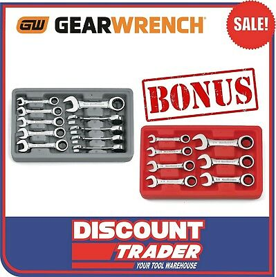 GearWrench 10Pc Stubby Ratcheting Spanner Set Metric Bonus SAE - 9520D+9507D