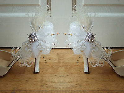 "Bridal Curled Peacock Goose Feather Crystals White Cream Shoe Clips ""Lena"" Pair"