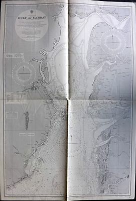 Admiralty Chart 1962 Map. Gulf of Cambay, India