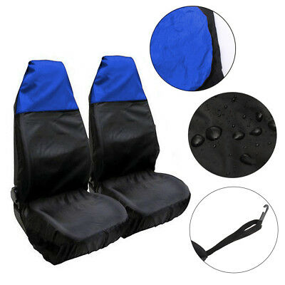 Universal 2pcs car Waterproof Nylon Front Seat Covers Heavy duty Protectors Blue