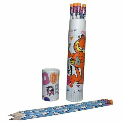 Official Garfield Style Pencil Set with Erasers 12 Pk - School Stationery