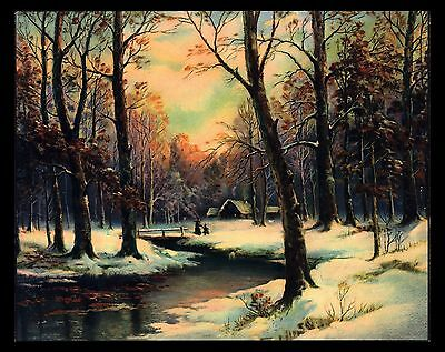 """Antique 1930's """"as The Sun Goes Down"""" Winter Stream Lithograph Art Print"""