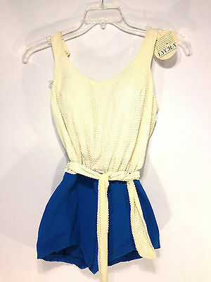 beautiful vintage 60's NEW 1 piece romper pin up knit belted LYCRA swimsuit 38 M