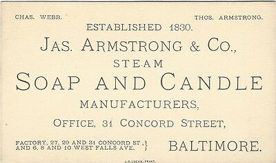 Vintage 1880s Trade Card -Jas. Armstrong & Co. Steam Soap and Candles, Baltimore