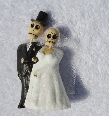 DAY OF THE DEAD SKELETON WEDDING COUPLE Marriage Just Married Bride Groom