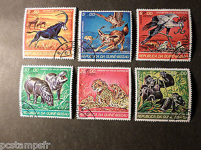 GUINEE BISSAU, LOT 6 timbres THEME ANIMAUX, ANIMALS, oblitérés VF cancel STAMPS