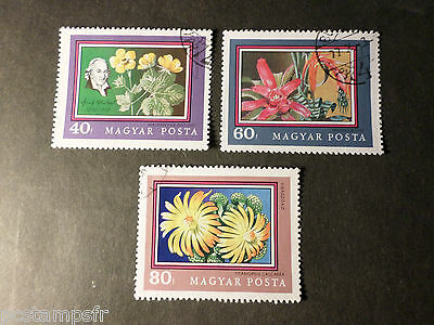 HONGRIE HUNGARY, LOT 3 timbres THEME FLEURS, FLOWERS, oblitérés, VF used STAMPS