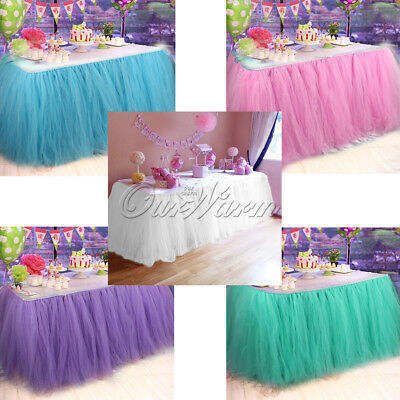 5pcs TUTU Tulle Table Skirt Tableware for Wedding Party Birthday Baby Shower