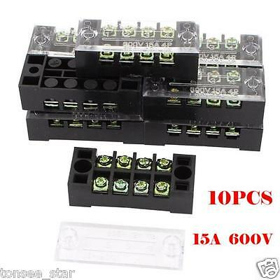10pc 4 Position Covered Screw Terminal Block Strip 600V 15A Schalter Steckverbin