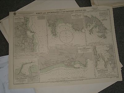 Vintage Admiralty Chart 1568 PORTS & ANCHORAGES IN EASTERN AEGEAN SEA 1960 edn