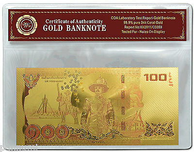 Colourised THAILAND 100 Baht 24K Gold Plated Banknote With COA (n40c) NEW