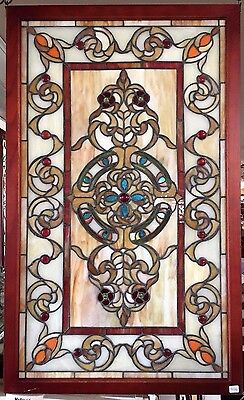 Glass Window Stained Leaded Wood Frame Decorative Tiffany Style Design