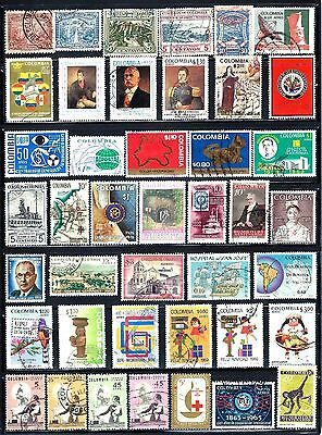COLOMBIA Commemorative Stamps Lot of 42