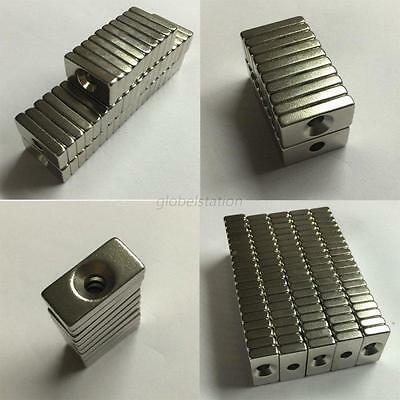Wholesale Super Strong Block Magnets 20x10x4mm Hole 4mm Earth Neodymium N50