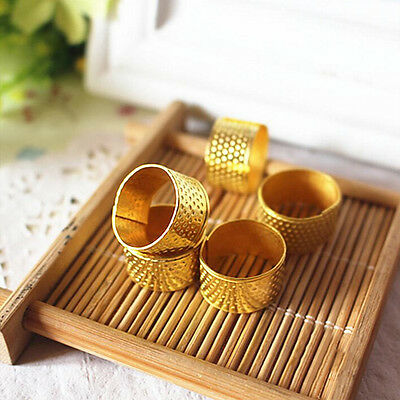 10x Gold  Adjustable Size Ring Stitch Finger Thimble Sewing DIY Craft Tools AT