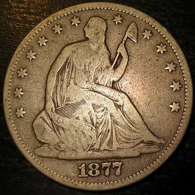 USA Silver Half Dollar Seated Liberty 1877 with Motto Issue